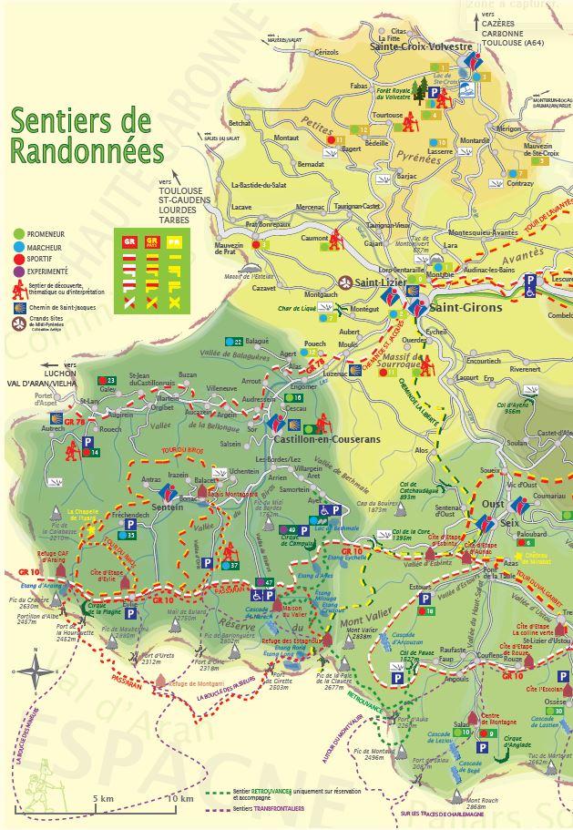 Carte randonnée Couserans Pyrénées